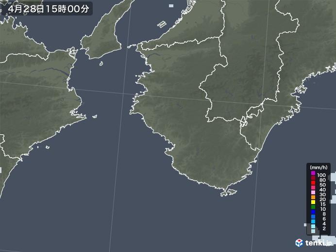 和歌山県の雨雲レーダー(2020年04月28日)
