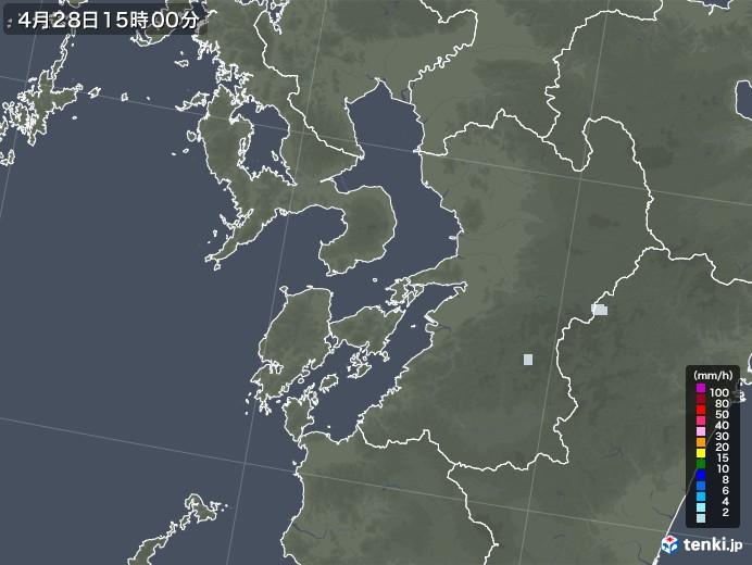 熊本県の雨雲レーダー(2020年04月28日)