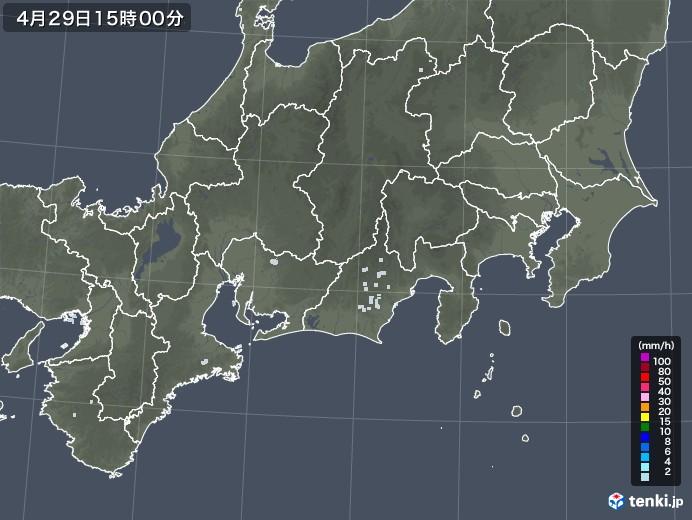 東海地方の雨雲レーダー(2020年04月29日)
