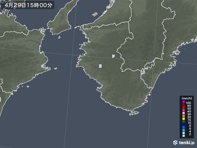 和歌山県の雨雲レーダー(2020年04月29日)