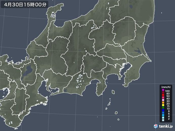 関東・甲信地方の雨雲レーダー(2020年04月30日)