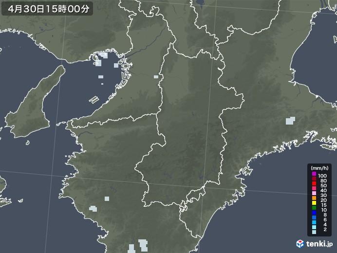 奈良県の雨雲レーダー(2020年04月30日)