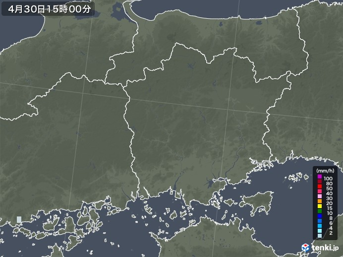 岡山県の雨雲レーダー(2020年04月30日)