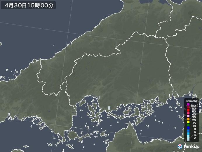 広島県の雨雲レーダー(2020年04月30日)