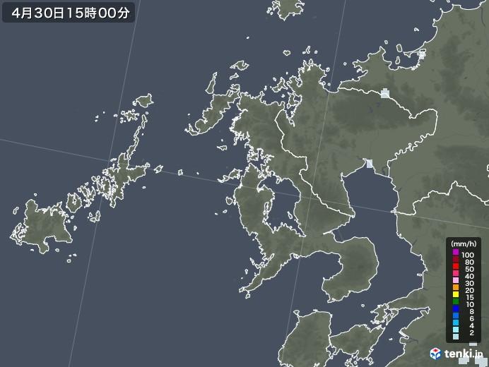 長崎県の雨雲レーダー(2020年04月30日)