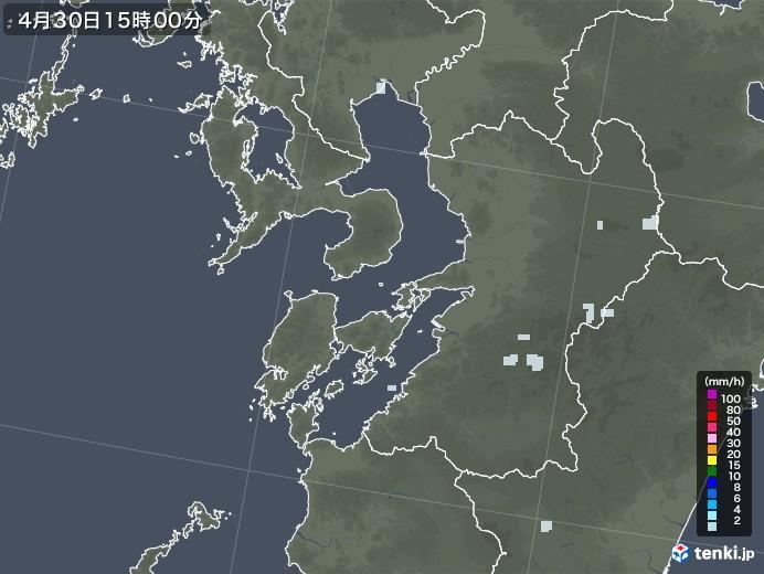 熊本県の雨雲レーダー(2020年04月30日)