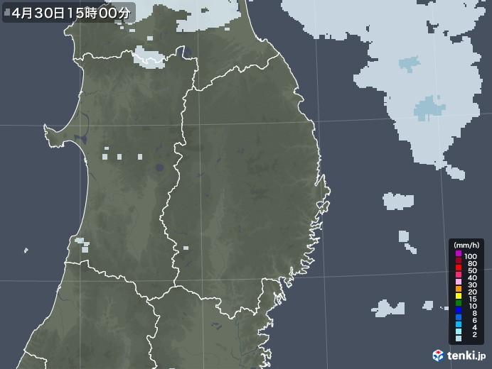 岩手県の雨雲レーダー(2020年04月30日)