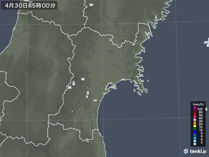 宮城県の雨雲レーダー(2020年04月30日)