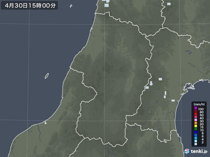 山形県の雨雲レーダー(2020年04月30日)