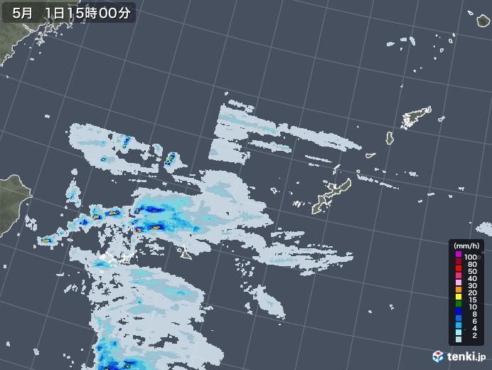 沖縄地方の雨雲レーダー(2020年05月01日)