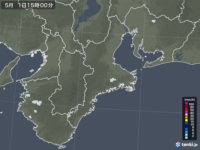 三重県の雨雲レーダー(2020年05月01日)