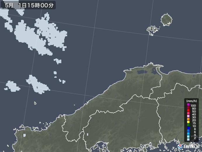 島根県の雨雲レーダー(2020年05月01日)