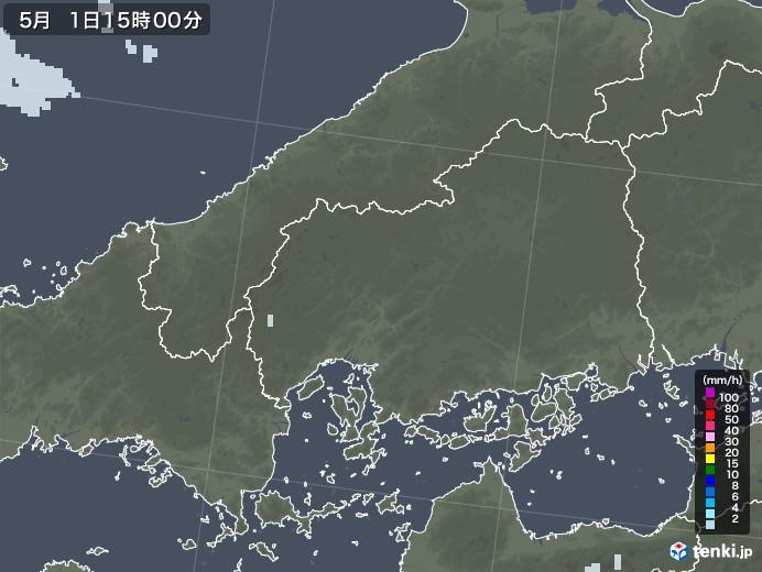 広島県の雨雲レーダー(2020年05月01日)