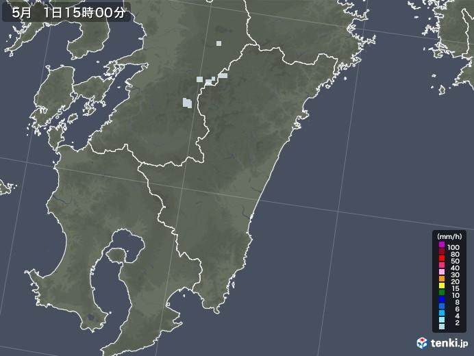 宮崎県の雨雲レーダー(2020年05月01日)