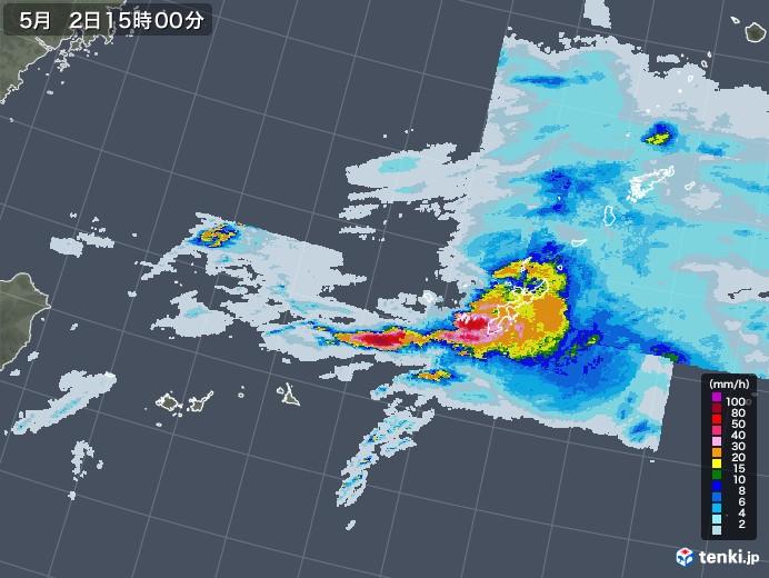 沖縄地方の雨雲レーダー(2020年05月02日)