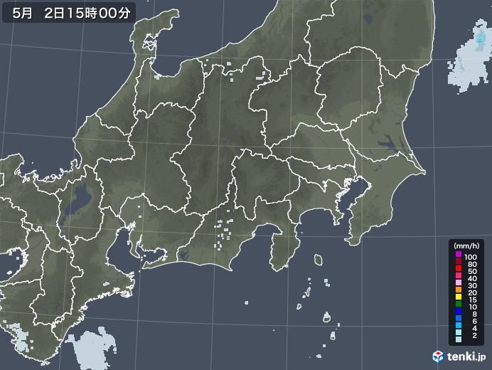 関東・甲信地方の雨雲レーダー(2020年05月02日)