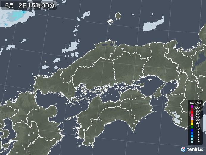 中国地方の雨雲レーダー(2020年05月02日)