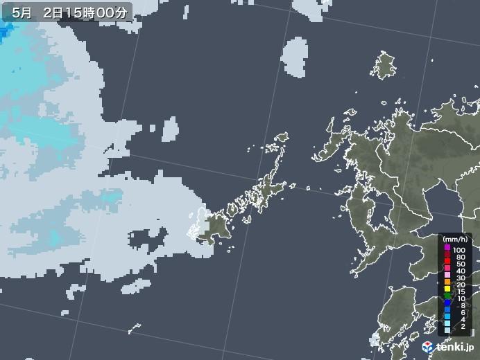 五島列島(長崎県)の雨雲レーダー(2020年05月02日)