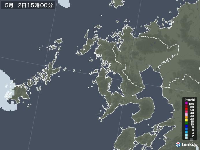 長崎県の雨雲レーダー(2020年05月02日)