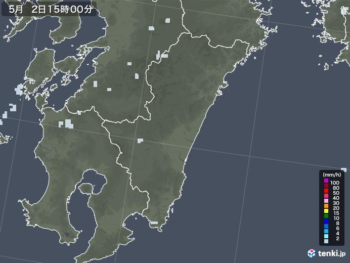 宮崎県の雨雲レーダー(2020年05月02日)