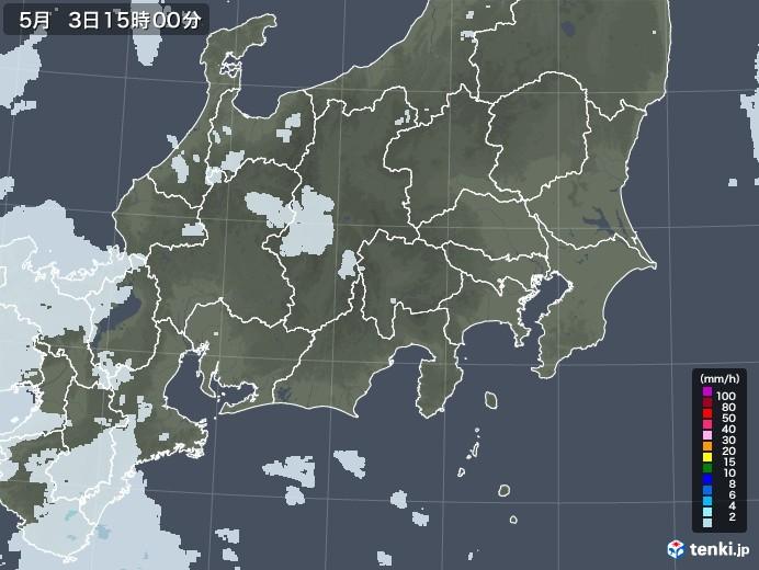 関東・甲信地方の雨雲レーダー(2020年05月03日)