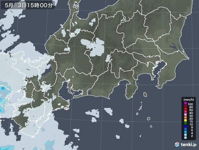東海地方の雨雲レーダー(2020年05月03日)