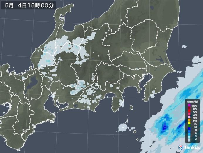 関東・甲信地方の雨雲レーダー(2020年05月04日)