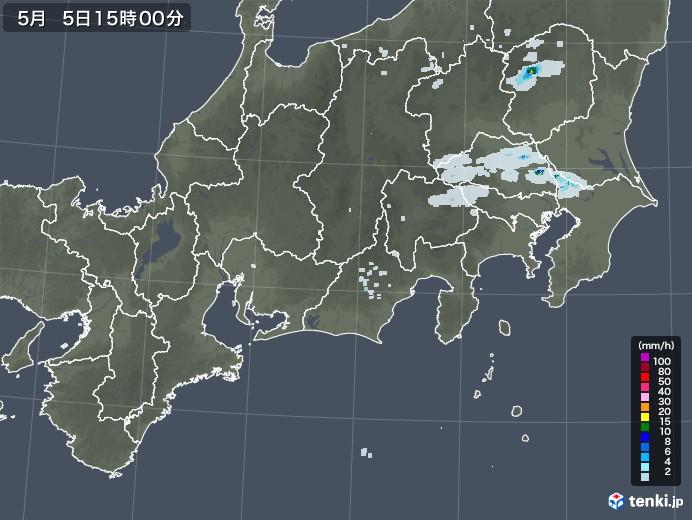 東海地方の雨雲レーダー(2020年05月05日)