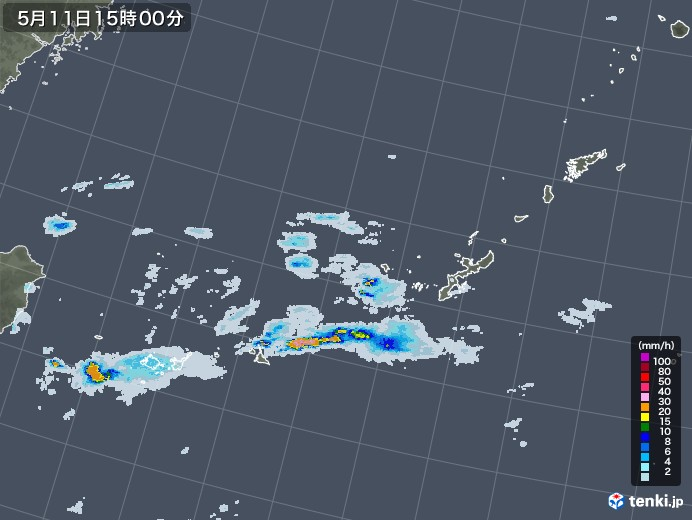 沖縄地方の雨雲レーダー(2020年05月11日)