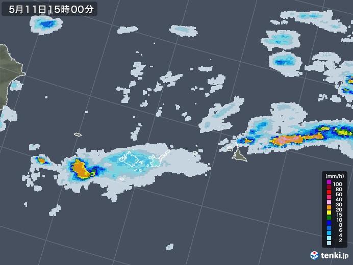 宮古島・石垣・与那国(沖縄県)の雨雲レーダー(2020年05月11日)