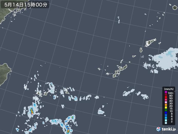 沖縄地方の雨雲レーダー(2020年05月14日)