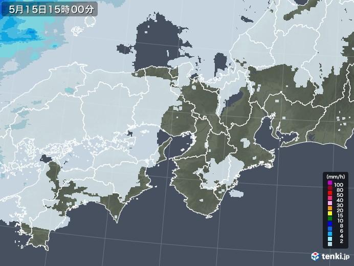 近畿地方の雨雲レーダー(2020年05月15日)