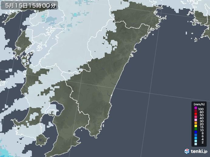 宮崎県の雨雲レーダー(2020年05月15日)