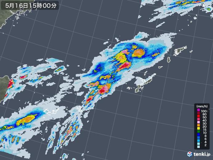 沖縄地方の雨雲レーダー(2020年05月16日)