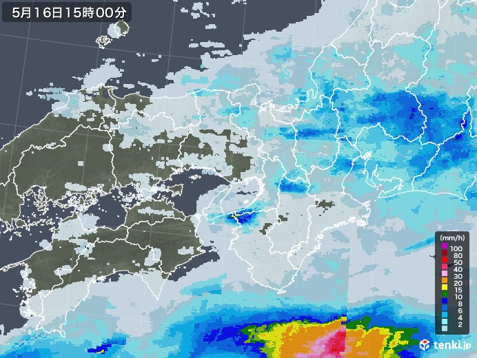 近畿地方の雨雲レーダー(2020年05月16日)