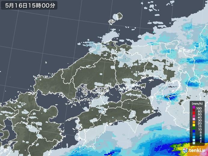 中国地方の雨雲レーダー(2020年05月16日)