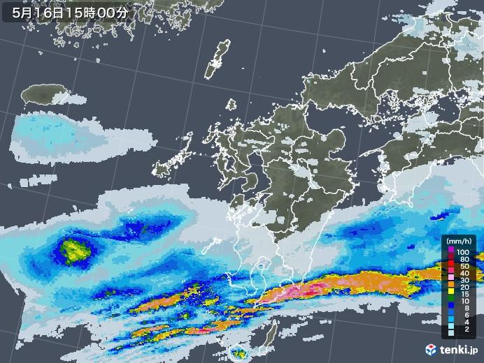 九州地方の雨雲レーダー(2020年05月16日)