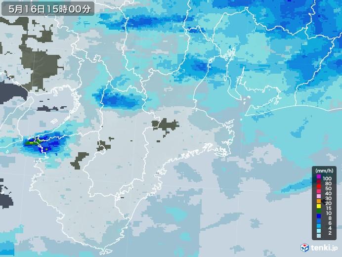 三重県の雨雲レーダー(2020年05月16日)