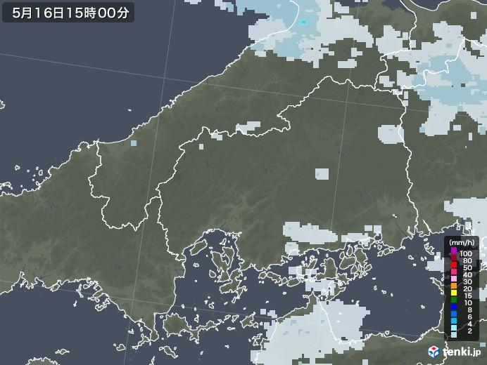 広島県の雨雲レーダー(2020年05月16日)