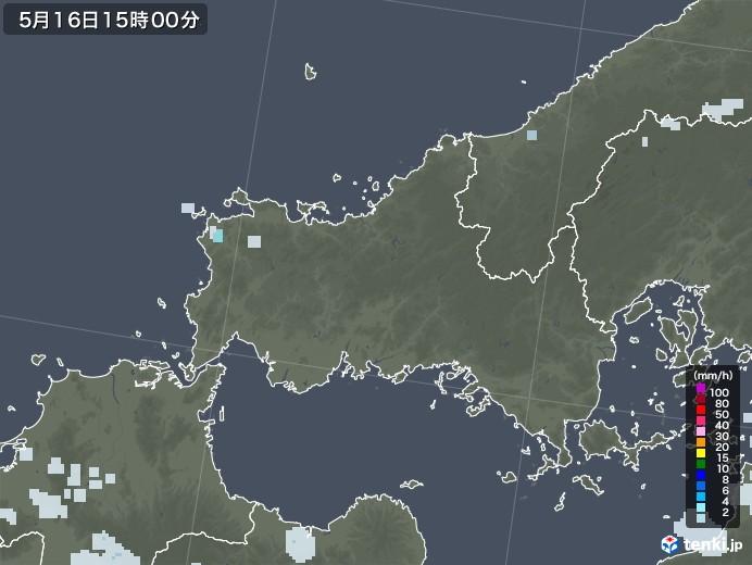 山口県の雨雲レーダー(2020年05月16日)