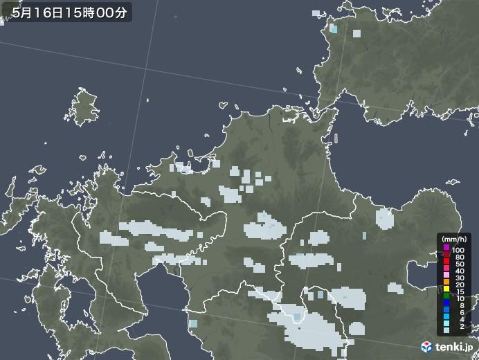 福岡県の雨雲レーダー(2020年05月16日)