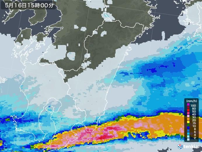 宮崎県の雨雲レーダー(2020年05月16日)