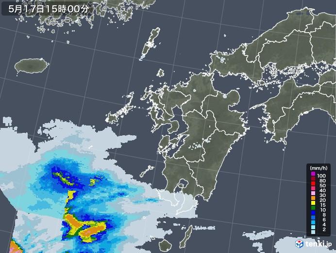 九州地方の雨雲レーダー(2020年05月17日)