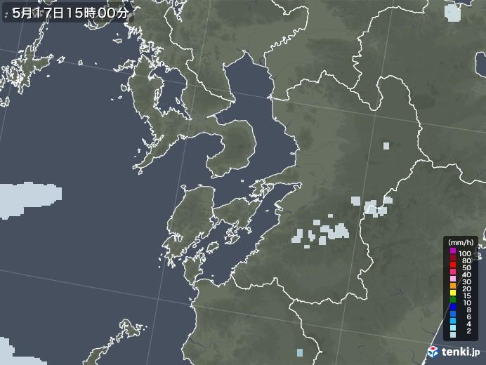 熊本県の雨雲レーダー(2020年05月17日)