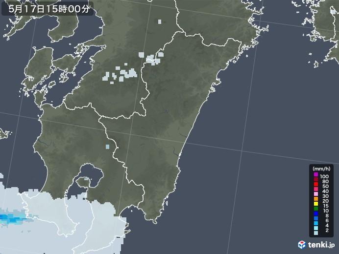 宮崎県の雨雲レーダー(2020年05月17日)