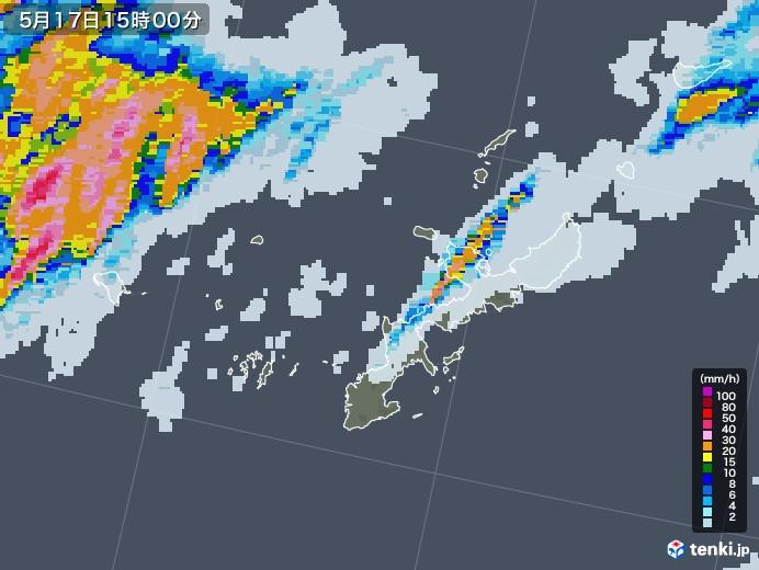 沖縄県の雨雲レーダー(2020年05月17日)