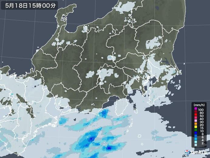 関東・甲信地方の雨雲レーダー(2020年05月18日)
