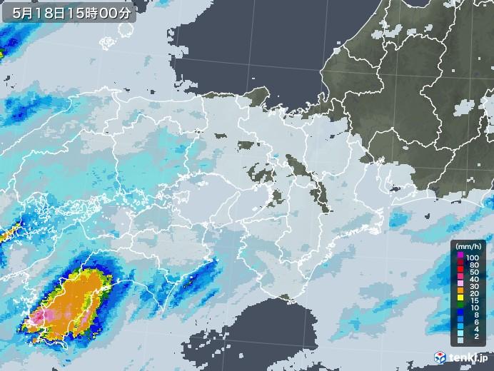 近畿地方の雨雲レーダー(2020年05月18日)