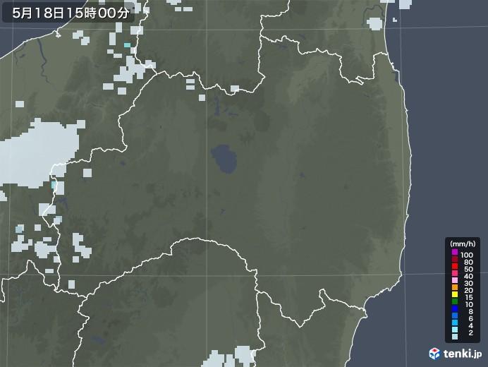 福島県の雨雲レーダー(2020年05月18日)
