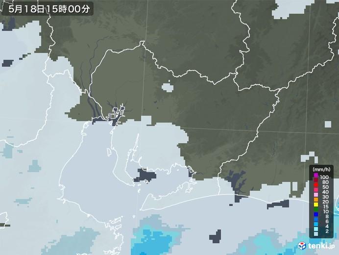 愛知県の雨雲レーダー(2020年05月18日)